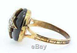 A Fabulous 17ct Cabochon Garnet & Old Cut Diamond Star Ring Circa 1800s