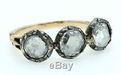 A Magnificent Georgian 3ct Rose Cut Diamond Three Stone Ring Circa 1800s