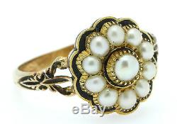 A Magnificent Georgian Pearl & Black Enamel Mourning Ring Dated 1830