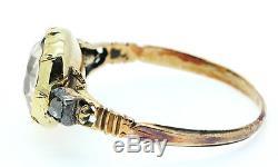 A Stunning Georgian 3ct Golden Topaz & Old Mine Cut Diamond Ring Circa 1800s