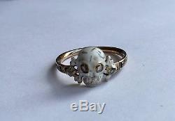 A Stunning Memento Mori Skull, Enamel & Diamond Ring Dated 1767