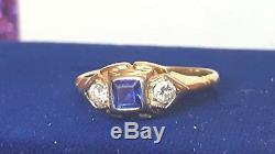ANTIQUE 14K GOLD DIAMOND BLUE SAPPHIRE ART DECO VICTORIAN EDWARDIAN signed