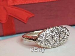 ANTIQUE 14K GOLD DIAMOND RING EDWARDIAN VICTORIAN designer signed WS ART DECO