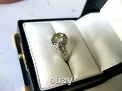 ANTIQUE 18K WHITE GOLD FILIGREE RING with FINE DIAMOND, ART DECO, 1920's
