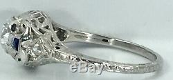 ANTIQUE 3/4 ct natural DIAMOND & sapphire engagement ring SOLID 18k white GOLD