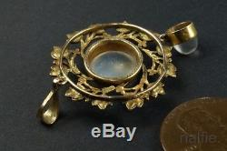 ANTIQUE 9K GOLD ENAMEL MOONSTONE ART NOUVEAU PENDANT by LIBERTY JESSIE M KING
