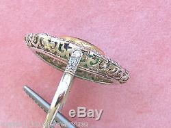 ANTIQUE ART DECO 1.20ctw DIAMOND 2.50ct OVAL EMERALD PLATINUM COCKTAIL RING 1930