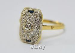 ANTIQUE ART DECO 18k Gold Diamonds and Sapphire Ring 3.4 Gr Engagement 750