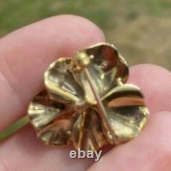 ANTIQUE ART NOUVEAU ENAMEL AJ Hedges 14k GOLD DIAMOND PANSY BROOCH 4.6gr