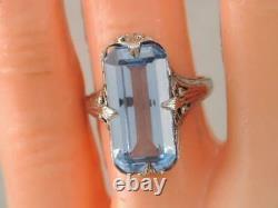 ANTIQUE Art Deco SOLID 10K WHITE GOLD FILIGREE 6 CT LIGHT BLUE SPINEL STONE RING
