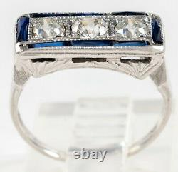 ANTIQUE EDWARDIAN 18K GOLD THREE DIAMOND RING w SAPPHIRE EDGES