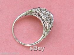 ANTIQUE EDWARDIAN DECO 1.7ct MINE DIAMOND SAPPHIRE COCKTAIL ENGAGEMENT RING 1920