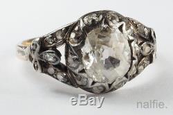 ANTIQUE ENGLISH GEORGIAN ERA 18K GOLD & SILVER OLD CUT DIAMOND RING c1800