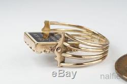 ANTIQUE ENGLISH GEORGIAN PERIOD 15K GOLD PEARL ENAMEL SWIVEL MOURNING RING c1805