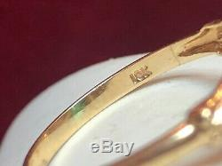 ANTIQUE ESTATE 10K GOLD GREEN TOURMALINE RING SIGNED ESEMCo GEMSTONE ART DECO