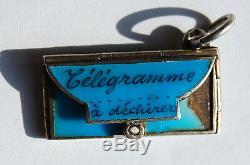 ANTIQUE FRENCH Enamel Telegram, Postcard, Letter Postage Stamp Charm Love