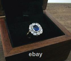 ANTIQUE GEORGIAN 1800-1820 Sapphire (NO HEAT) & Diamond 14K Gold Ring