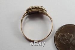 ANTIQUE GEORGIAN ENGLISH 15K GOLD PEARL LOCKET MOURNING RING c1820