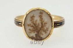 ANTIQUE GEORGIAN ENGLISH 18K GOLD ENAMEL HAIR TREE OF LIFE MOURNING RING c1770