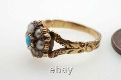 ANTIQUE GEORGIAN ENGLISH 18K GOLD TURQUOISE PEARL & GARNET CLUSTER RING c1830