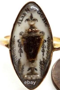 ANTIQUE GEORGIAN GOLD HAIR WORK & SEPIA MINIATURE URN MOURNING RING c1790
