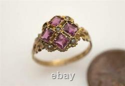 ANTIQUE MID VICTORIAN ENGLISH 12K GOLD ALMANDINE GARNET & SEED PEARL RING c1870