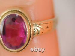 ANTIQUE VICTORIAN SOLID 10K GOLD RUBY CHILDS RING sz 3