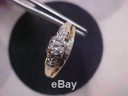 ANTIQUEART DECO1920'S DIAMOND WEDDING SET 14K YELLOW & WHITE GOLD sz8 GIFT