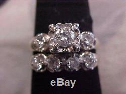 ANTIQUEART DECO2-RING MATCHING. 74ctw DIAMOND WEDDING SET 14K WHITE GOLD s5.5