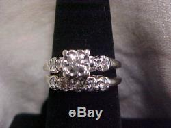ANTIQUEDECO1920'S 2-RING MATCHING DIAMOND WEDDING SET 14K WHITE GOLD sz6.5