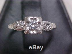 ANTIQUEDECO1920'S 2-RING NATURAL DIAMOND WEDDING SET 14K WHITE GOLD sz6.25