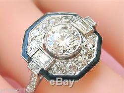 ART DECO 1.20ct BRILLIANT DIAMOND BLACK ENAMEL PLATINUM OCTAGON COCKTAIL RING