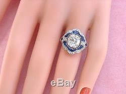 ART DECO 2ct OLD MINE CUSHION DIAMOND SAPPHIRE PLATINUM ENGAGEMENT COCKTAIL RING