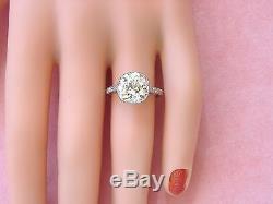 ART DECO 4.03ct OLD MINE CUSHION DIAMOND SOLITAIRE PLATINUM ENGAGEMENT RING