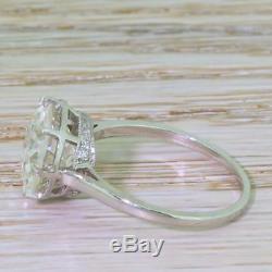 ART DECO 4.45ct OLD EUROPEAN CUT DIAMOND ENGAGEMENT RING 18k Gold c 1940