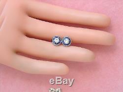 ART DECO STYLE. 55ctw DIAMOND. 50ctw SAPPHIRE HALO PLATINUM STUD EARRINGS