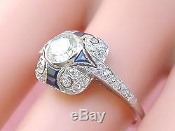 ART DECO STYLE. 63ct DIAMOND SAPPHIRE PLATINUM ENGAGEMENT COCKTAIL RING