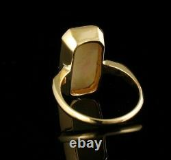 ART DECO VINTAGE FINE NATURAL 4.0ct AUSTRALIAN OPAL SOLID 14K YELLOW GOLD RING