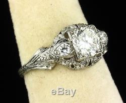 ART DECO VINTAGE NATURAL 1.34ctw OLD EUROPEAN DIAMOND PLATINUM FILIGREE RING