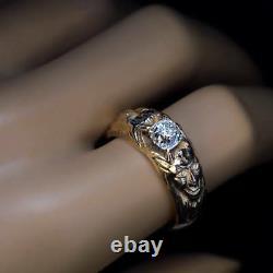 Antique 1.14 ct Cushion Cut Diamond Gold Mens Ring
