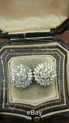 Antique 1.20Ct Round Cut Diamond 14K Yellow Gold Over Cluster Stud Earrings