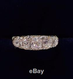 Antique 1.50ct Five Stone Diamond Ring in 18ct Yellow Gold Size N