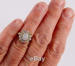 Antique 10k 2.25 Carat Opal Cluster Ring Size 6