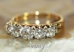 Antique 14K GOLD Mine-Cut DIAMOND Womens Band/Ring SIZE 5, 1 CARAT, 3.1 Grams