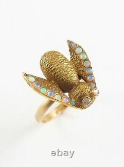 Antique 14K Gold Victorian Diamond Eyed & Opal Bee Fly Insect Ring Size 5