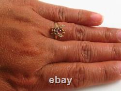 Antique 14K Gold Victorian Edwardian Diamond & Ruby Fly Insect Ring Size 4.75