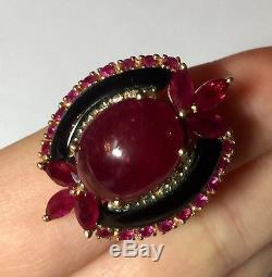Antique 14K TJJ Gold Ladies Oval Natural Cabochon Ruby Diamond Ring Sz 7 1/4