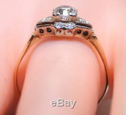 Antique 14K White/Yellow Gold. 50+ Ct European Cut RB Diamond Wedding Ring