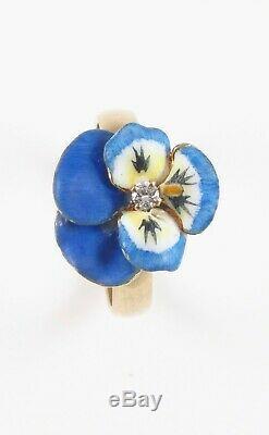 Antique 14k Gold Art Nouveau Enamel Diamond Pansy Flower Conversion Ring Size 6