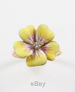 Antique 14k Gold Art Nouveau Enamel & Diamond Pansy Flower Ring Size 7.5
